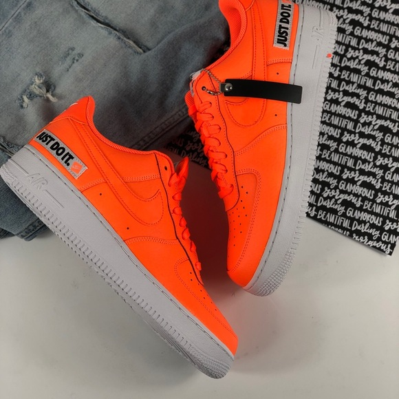45aac9f66a648 Nike Air Force 1 just do it neon orange sneakers
